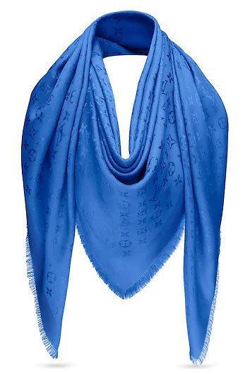 """Женский платок с люрексом Louis Vuitton  Monogram """"Blue""""  (в стиле Луи Витон)"""