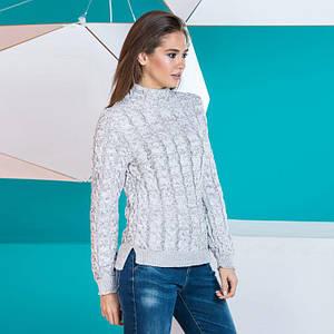 Женский стильный теплый свитер Мила серый меланж