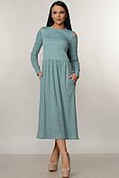 Теплое нарядное платье миди с пышной юбкой 42-52 размеры мятное