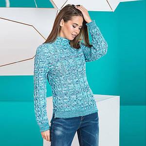 Женский стильный теплый свитер Мила мята меланж