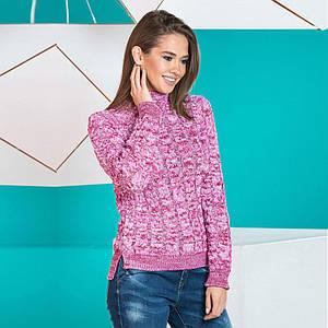 Женский стильный теплый свитер Мила вишня меланж