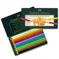 Цветные карандаши Faber Castell, Polychromos, 12 шт., метал. коробка (110012)