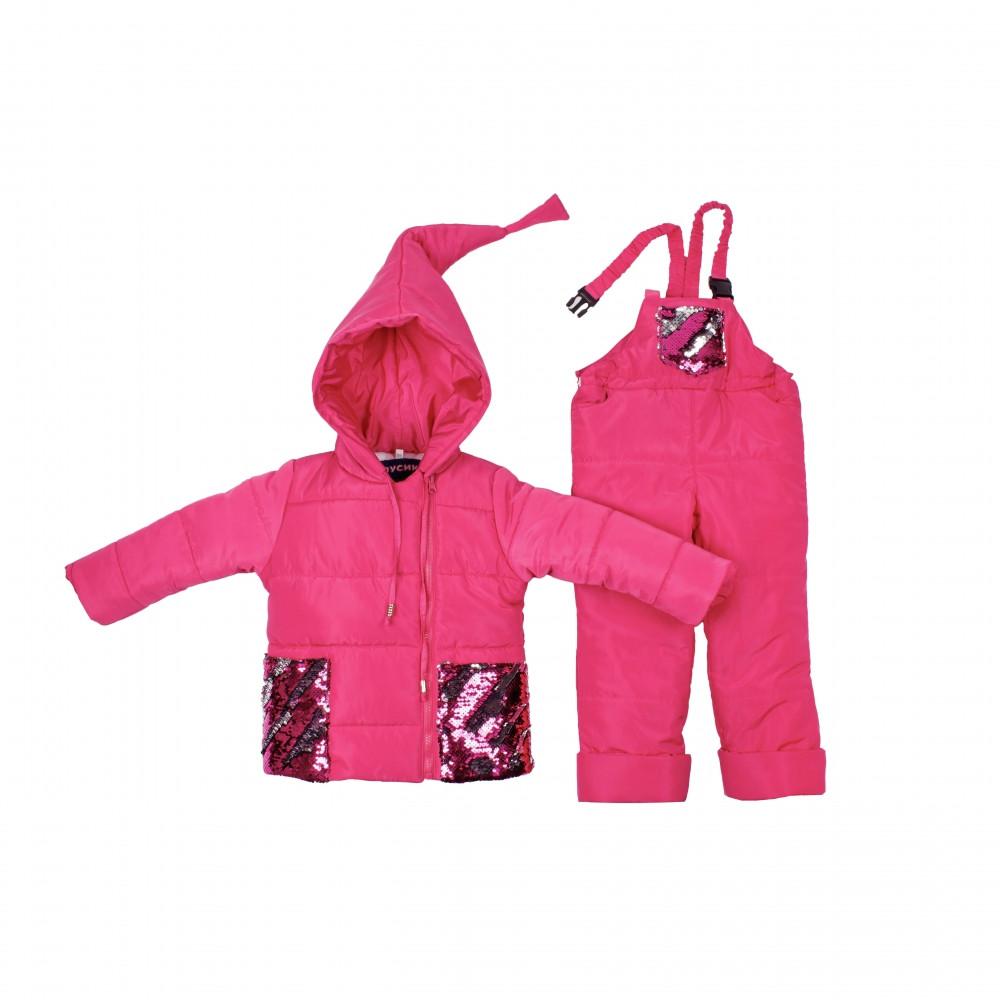 Детский зимний комбинезон Пусик Гномик с пайетками 92-104 см (1-2, 2-3, 3-4 года) (Малиновый)