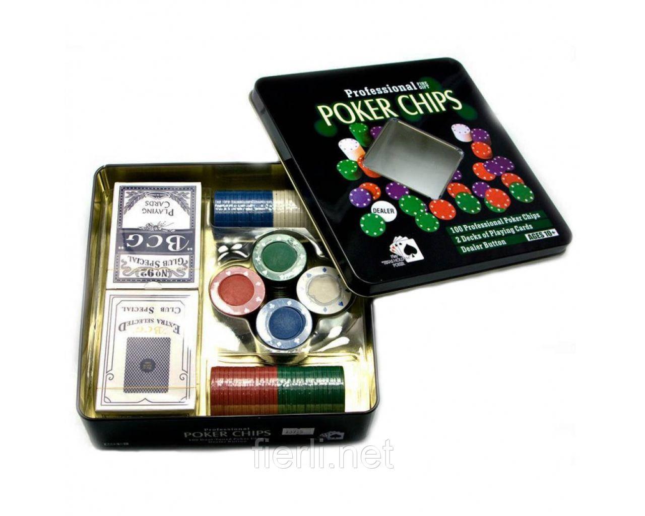 Покерный набор на 100 фишек с номиналом в металлической коробке №100Т-2