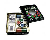 Покерный набор на 100 фишек с номиналом в металлической коробке №100Т-2, фото 1