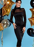 Женское черное платье-миди по фигуре (Victoryjd)