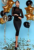 Женское черное платье-миди по фигуре (Victoryjd), фото 2