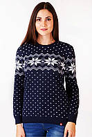13d86f48845 Женская вязаная кофта в рождественском стиле темно-синего цвета