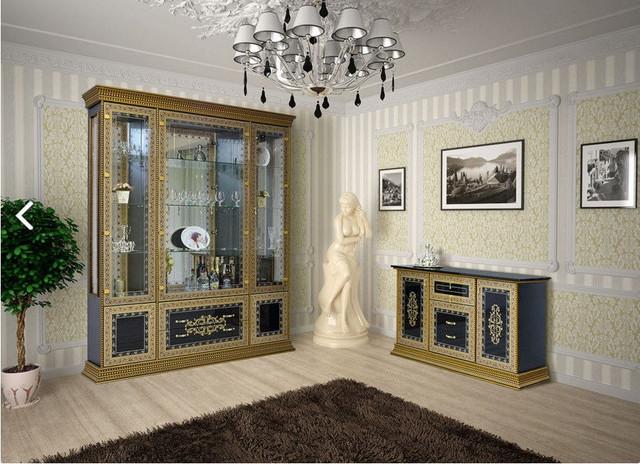 Комплект в вітальню (стенка в гостиную) Белладжіо чорний Світ Меблів