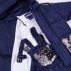 Детский зимний комбинезон Пусик Гномик с пайетками 92-104 см (1-2, 2-3, 3-4 года) (Синий), фото 4