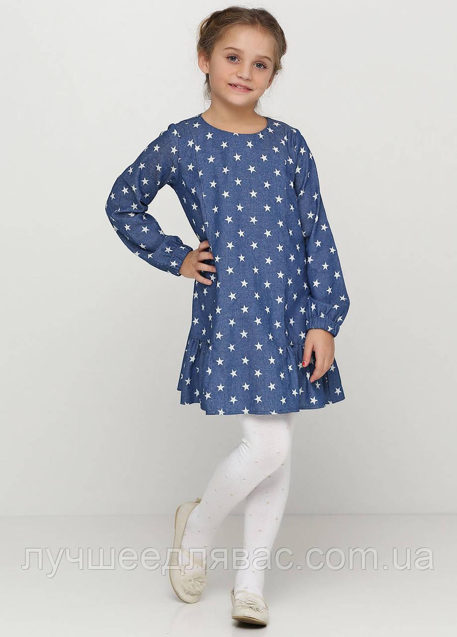 Платье для девочки цвета джинс с принтом звездочки  р.140 см, фото 1