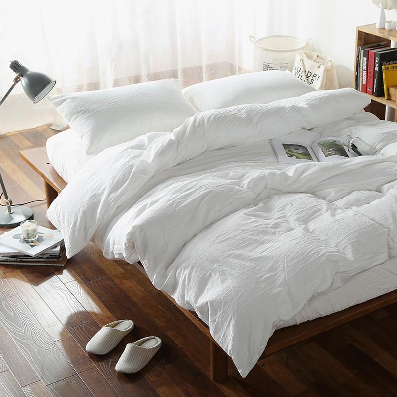 Постельное белье Постельное белье лен Белый умягченный с хлопком ТМ Царский дом  (Полуторный)