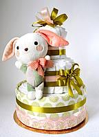 Торт из памперсов с игрушкой новорожденному., фото 1