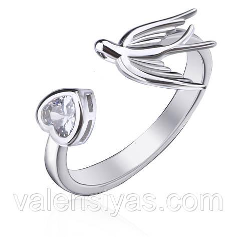 Серебряное кольцо Ласточка с сердцем К2Ф/2012, фото 2