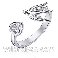 Серебряное кольцо Ласточка с сердцем К2Ф/2012