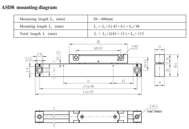 ASD8 супертонкие оптические линейки (толщина 17 мм)