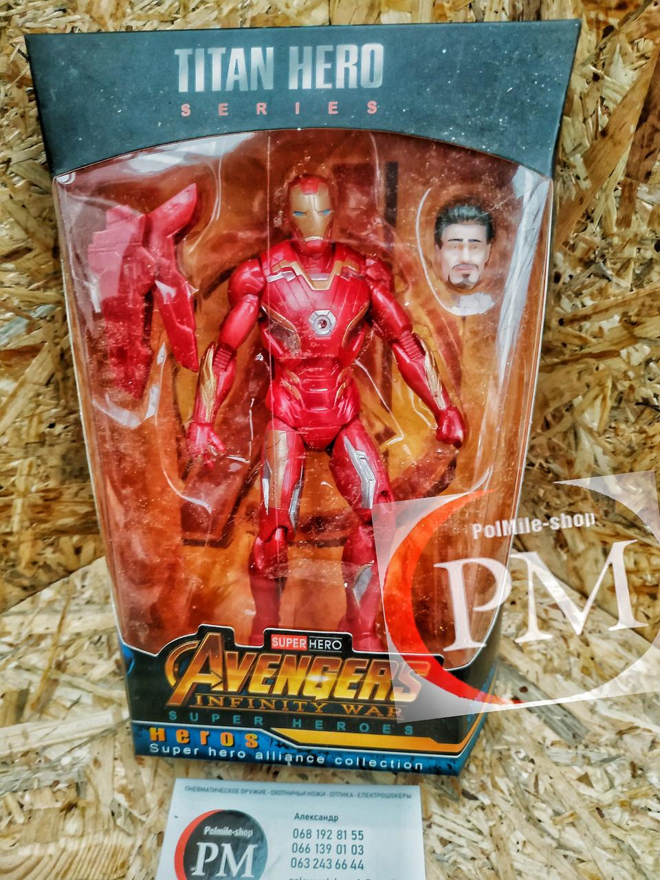 Фигурки Супер-героев (Человек Паук, Железный человек, Халк, Танос, Капитан Америка, Черная Пантера)