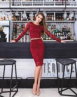 Женский костюм: кофта с длинными рукавами + юбка с набивного гипюра бордо