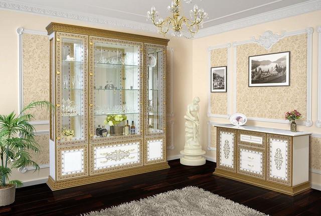 Комплект в вітальню (стенка в гостиную) Белладжіо білий Світ Меблів