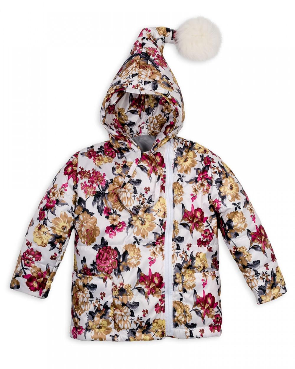 Детская куртка с помпоном Пусик Гномик весна-осень 90-122 см (1-2, 2-3, 4-5 лет) (Цветы)