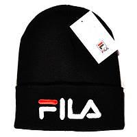 Брендовая женская вязаная шапка Fila черная качественная шапочка зимняя  шерстяная Фила премиум реплика ceeb56aaf88a5