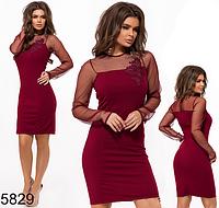 Вечернее платье по колено марсал 825829
