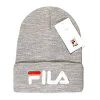 Красивая женская вязаная шапка Fila серая светло-серая теплая шапочка  женская зимняя унисекс Фила люкс 4e967925e3598