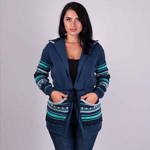 Трикотажная женская кофта Парка джинс - мята