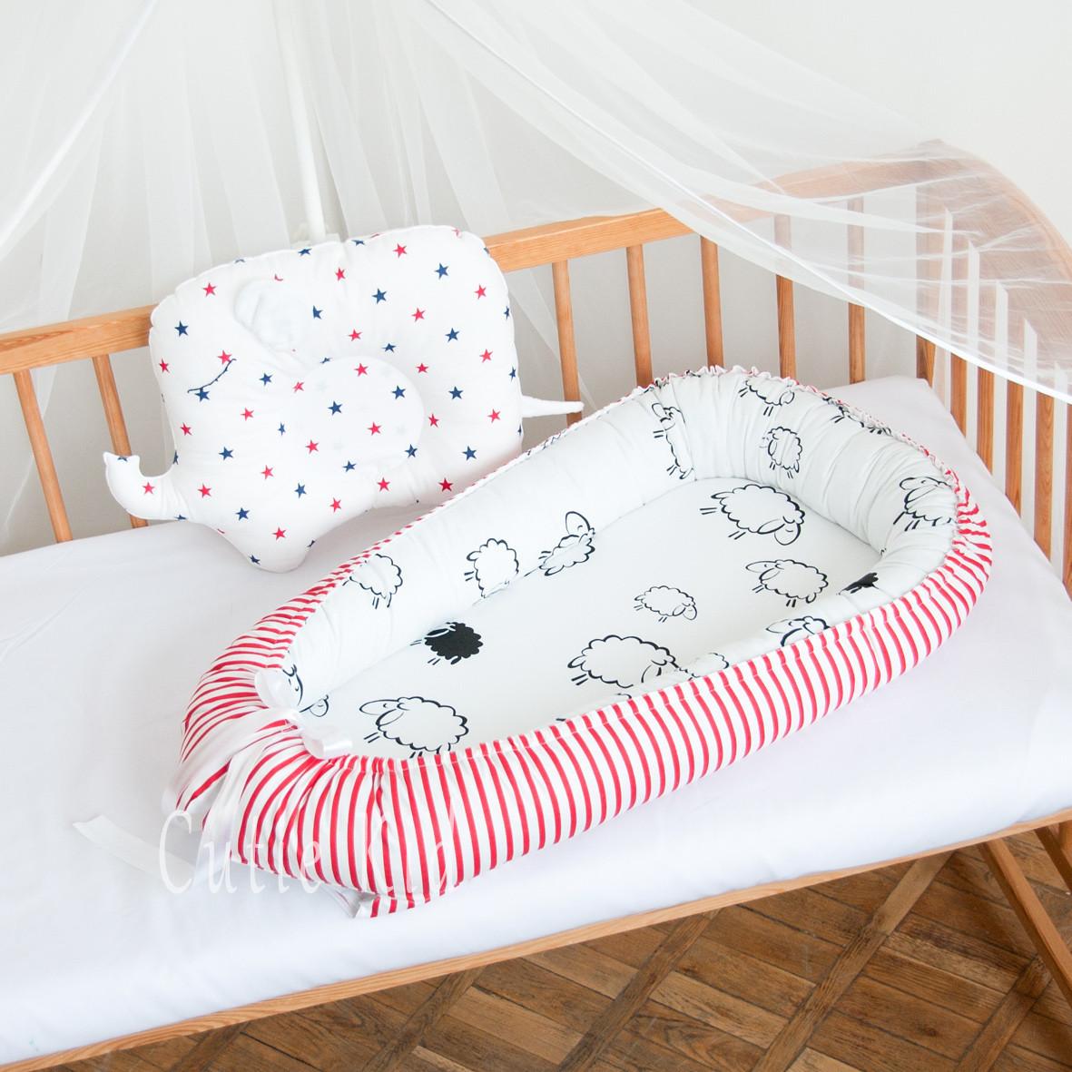 """Гнездышко-кокон для новорожденных """"Red Stripes"""", К-01"""