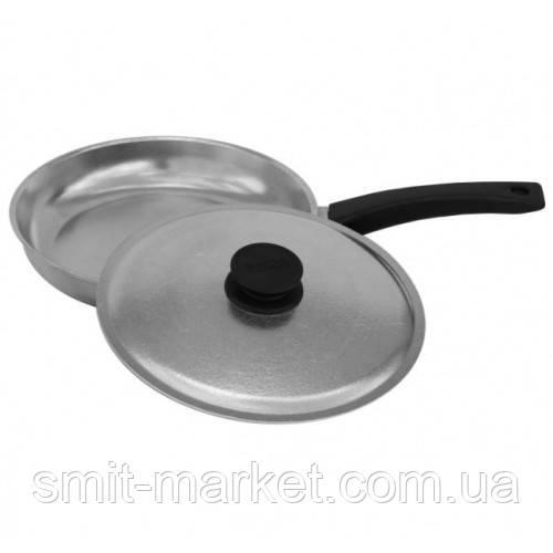 Сковорода алюминиевая Биол с ручкой и крышкой Блеск 20 см (2004БК)