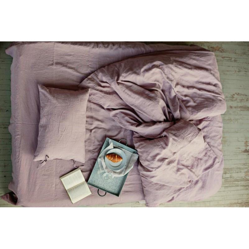 Постельное белье Постельное белье лен Пудрово-лиловый ТМ Царский дом  (Евро)