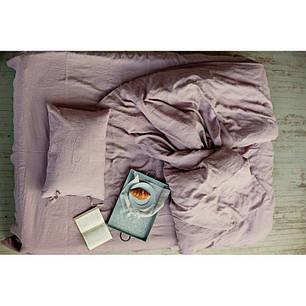 Постельное белье Постельное белье лен Пудрово-лиловый ТМ Царский дом  (Евро), фото 2