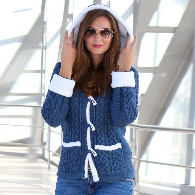 Вязаный жакет с капюшоном Надя джинс