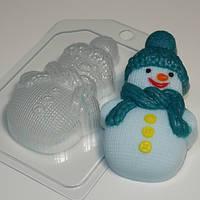 Пластиковая форма для мыла Снеговик вязаный