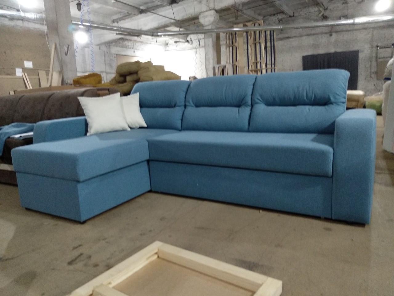 Угловой диван Эко Дрим 2,5 голубой Элизиум