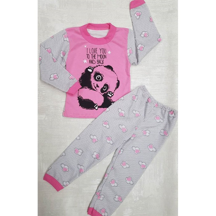 Детская байковая пижама для девочки с рисунком мишек 30-38 р