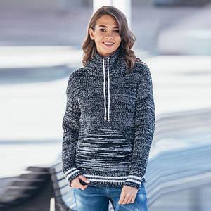 Теплый вязаный свитер с карманом Кенгуру черный меланж