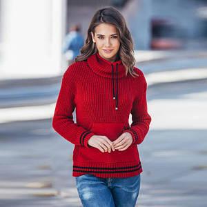 Теплый вязаный свитер с карманом Кенгуру вишня
