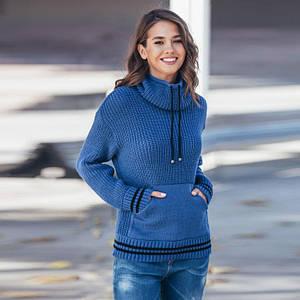 Теплый вязаный свитер с карманом Кенгуру джинс