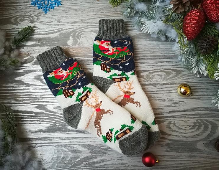 Носки детские подростковые для девочки шерстяные зимние Дед Мороз на санках, р. 33-36