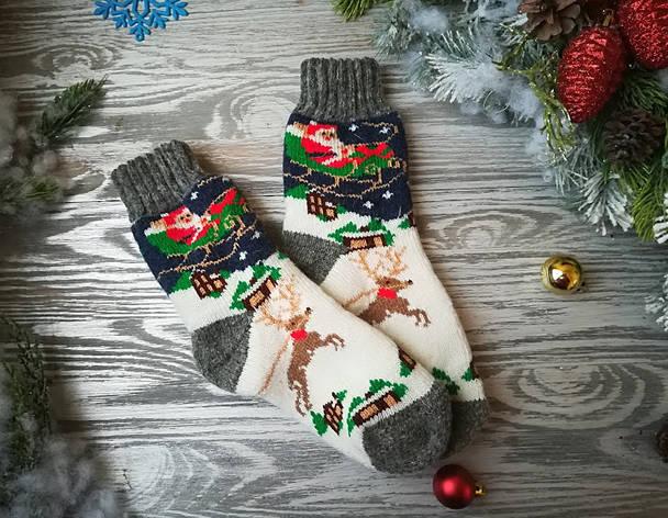 Женские носки из овечьей шерсти Дед Мороз на санках, р. 33-36, фото 2