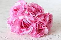 Декоративный цветок чайной розы диаметр 4 см розово-малинового цвета, фото 1