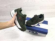 Зимние кроссовки Fila Disruptor Yalor,нубук,зеленые, фото 3