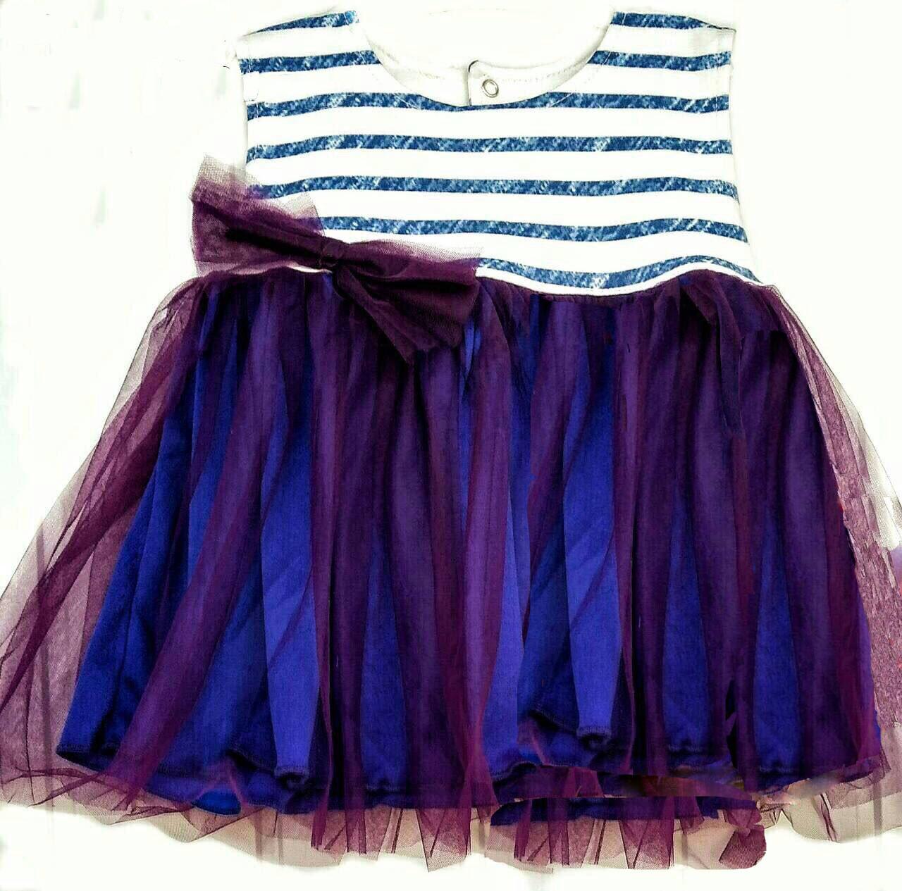 Детское нарядное трикотажное платье полоска, 86, 92 см