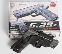 Детский металлический пистолет Galaxy G25+ (Colt 1911), страйкбольный Кольт с кобурой, пистолеты на пульках