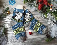 Носки из овечьей шерсти Собаки на синем с салатовым орнаментом, р. 38-39