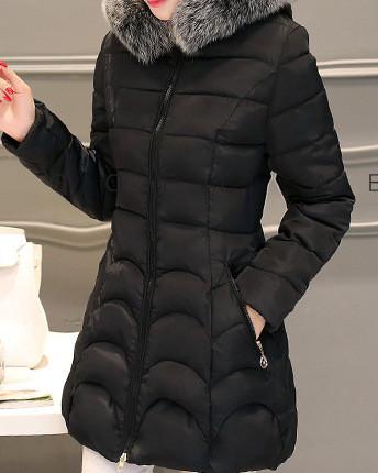 Куртка зимова жіноча чорна, пуховик розмір 42 (XL) CC-8470-10