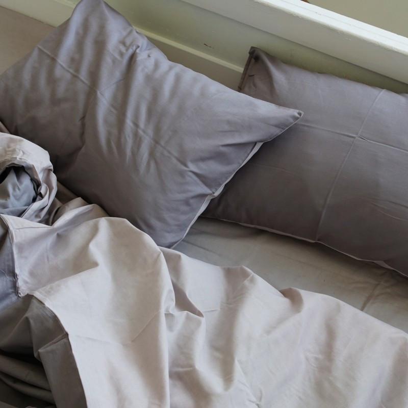 Постельное белье Постельное белье однотонный Gray+Cream микс поплин Lux ТМ Царский дом  (Двуспальный)