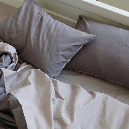 Постельное белье Постельное белье однотонный Gray+Cream микс поплин Lux ТМ Царский дом  (Двуспальный), фото 2