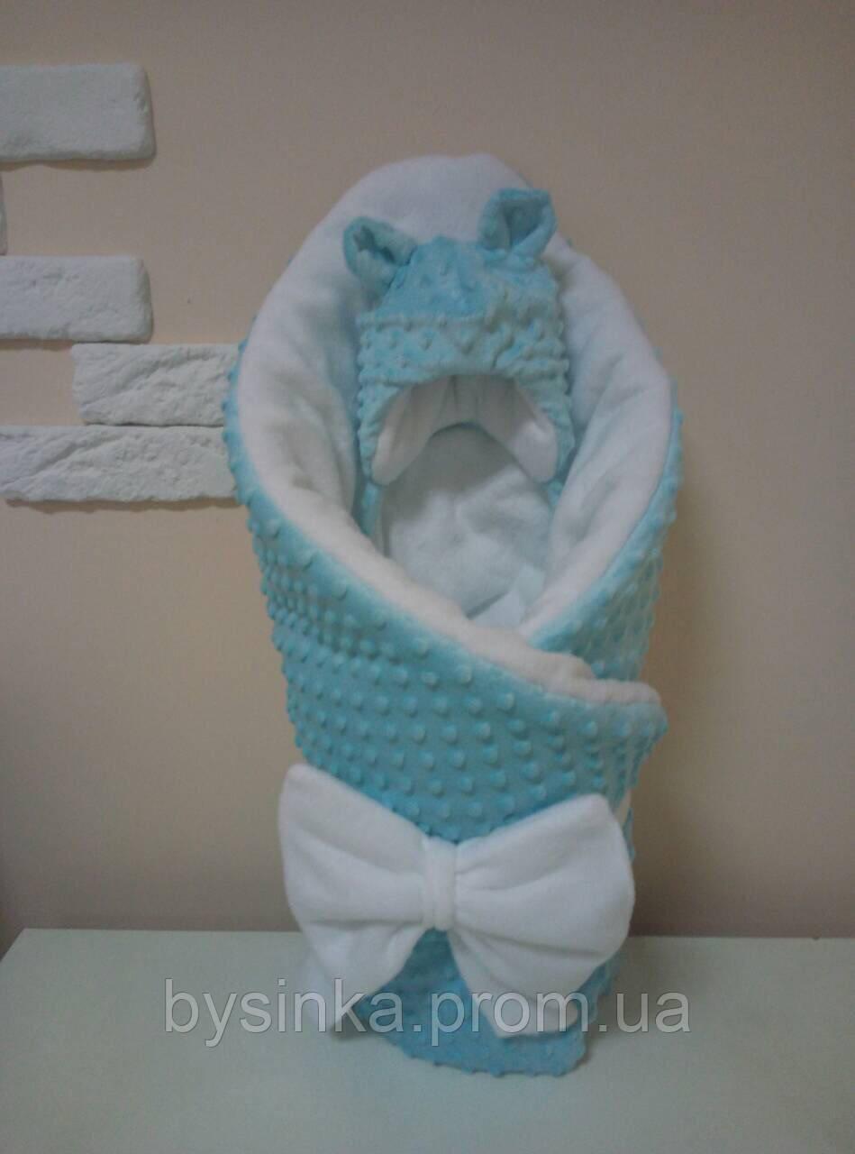 Плед детский плюшевый с флисом (зимний) на выписку новорожденного